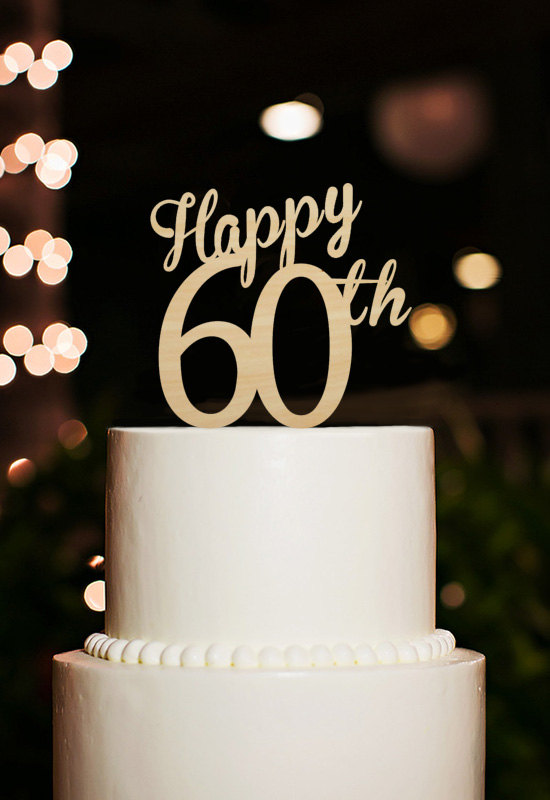 Happy 60th Cake Topper60 Years Anniversary Cake Toppercutsom