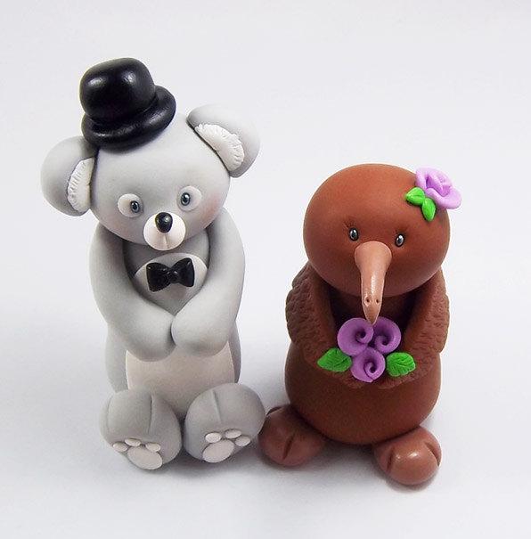 Wedding - Koala Groom, Kiwi Bride, Wedding Cake Topper, Wedding Decoration, Personalized Figurine