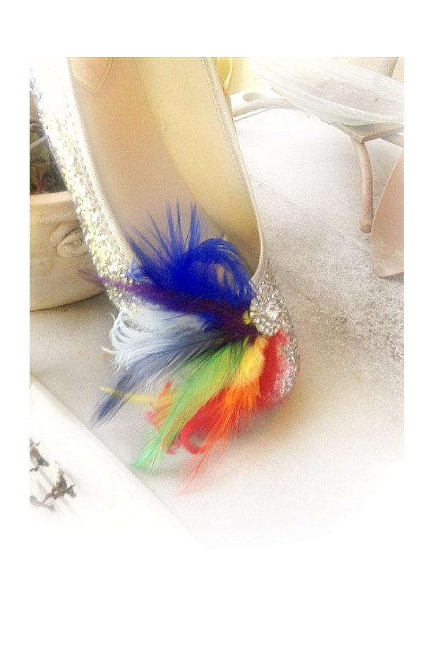 Düğün - Shoe Clips RAINBOW / Ivory / White / Black / Blue Feathers Rhinestone. Bride Bridal Couture. Bright Fun Happy Chic  Bold, Cocktail Burlesque