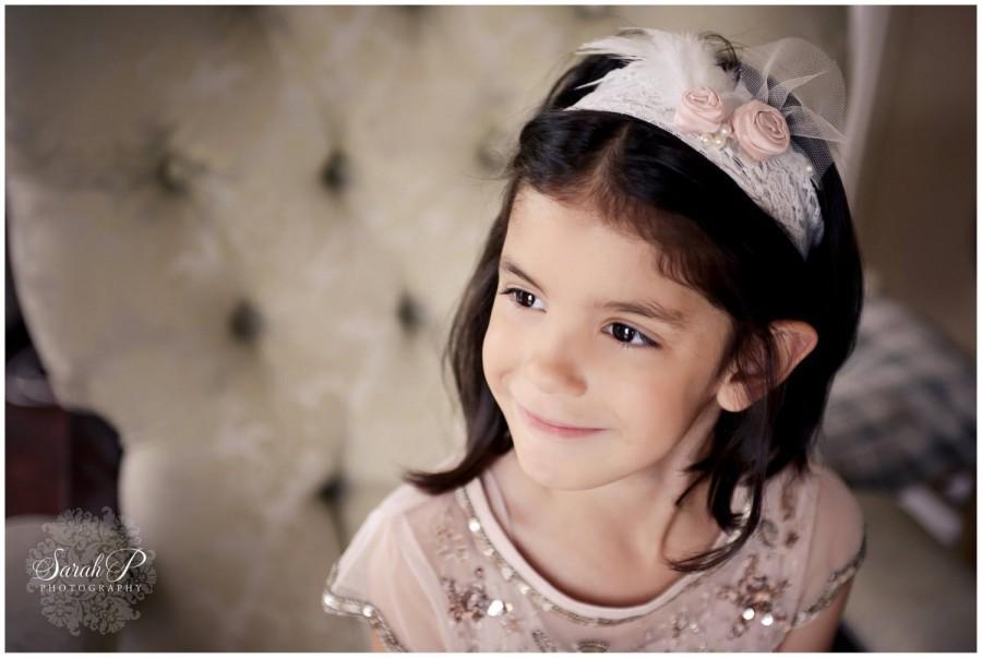 Mariage - Flower girl headband. Bridesmaid headband. Girls headband. Flower girl