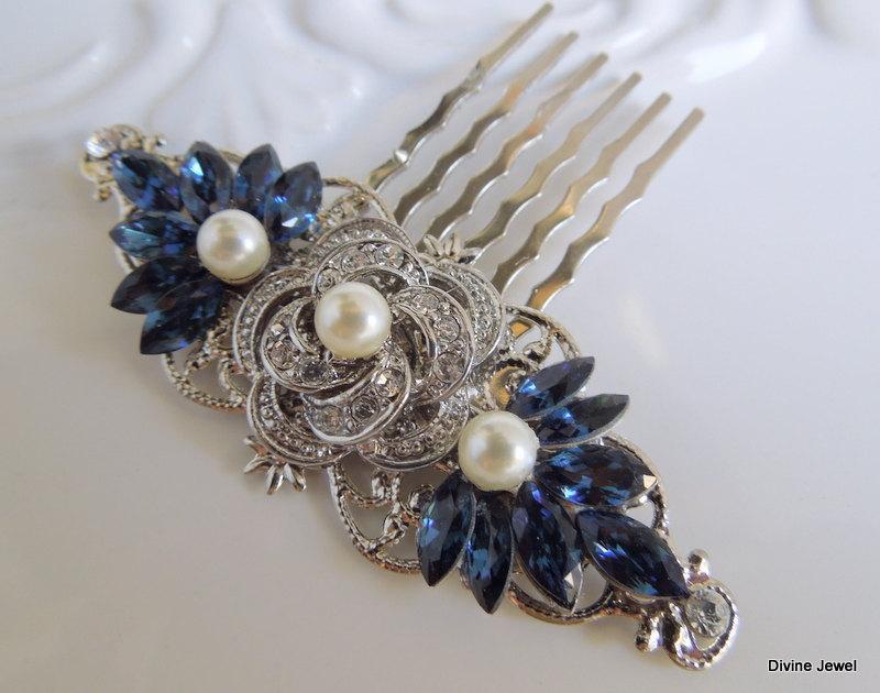 Mariage - Bridal Rhinestone Hair Comb,Wedding Rhinestone Hair Comb,Rose Rhinestone Hair Comb,Swarovski Crystals,Something Blue Hair Comb,Blue,ROSELANI