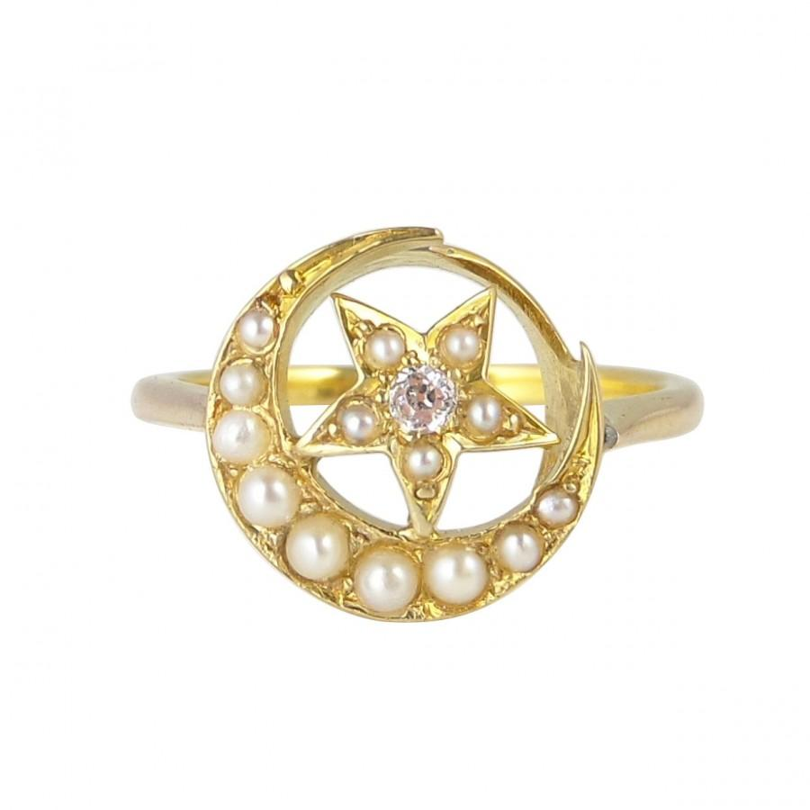 Edwardian Diamond And Seed Pearl Moon And Star Ring, In 9ct Gold ...