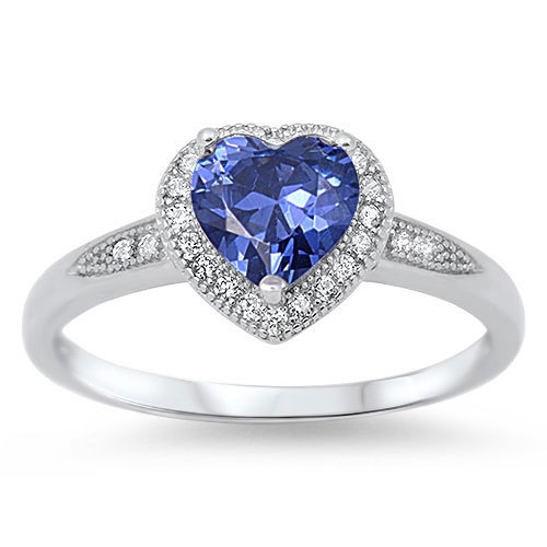 Mariage - Solid 925 Sterling Silver Halo Heart Promise Engagement Ring 1.20 Carat Heart Tanzanite Pave Russian Diamond CZ Valentines Love Gift