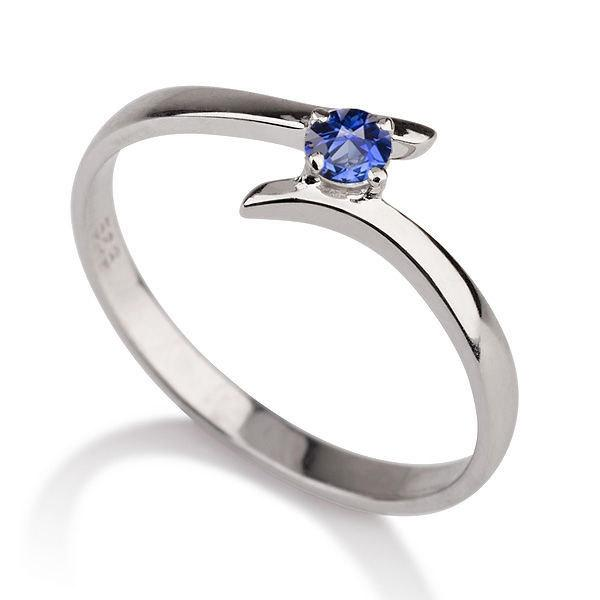 Wedding - Twist Sapphire Ring, 14K Gold Ring Solitaire Engagement Ring, 0.20 CT Blue Sapphire Ring Art Deco, Unique Engagement Ring