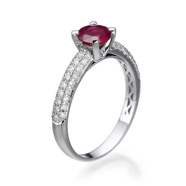 Mariage - Pave Ring, Ruby Engagement Ring, 14K White Gold Ring, 1.32 TCW Ruby Ring Vintage, Art Deco Engagement Ring, Unique Rings