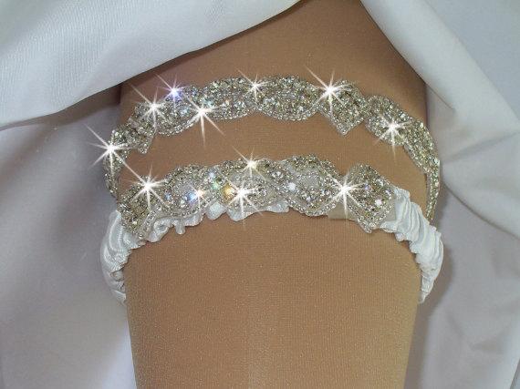 Mariage - Garter, Wedding Garter Set, Bridal Garter Belts, Bling Garter, Wedding Lingerie, Rhinestone Garter, Wedding Dress, Garder, Bridal Garter Set