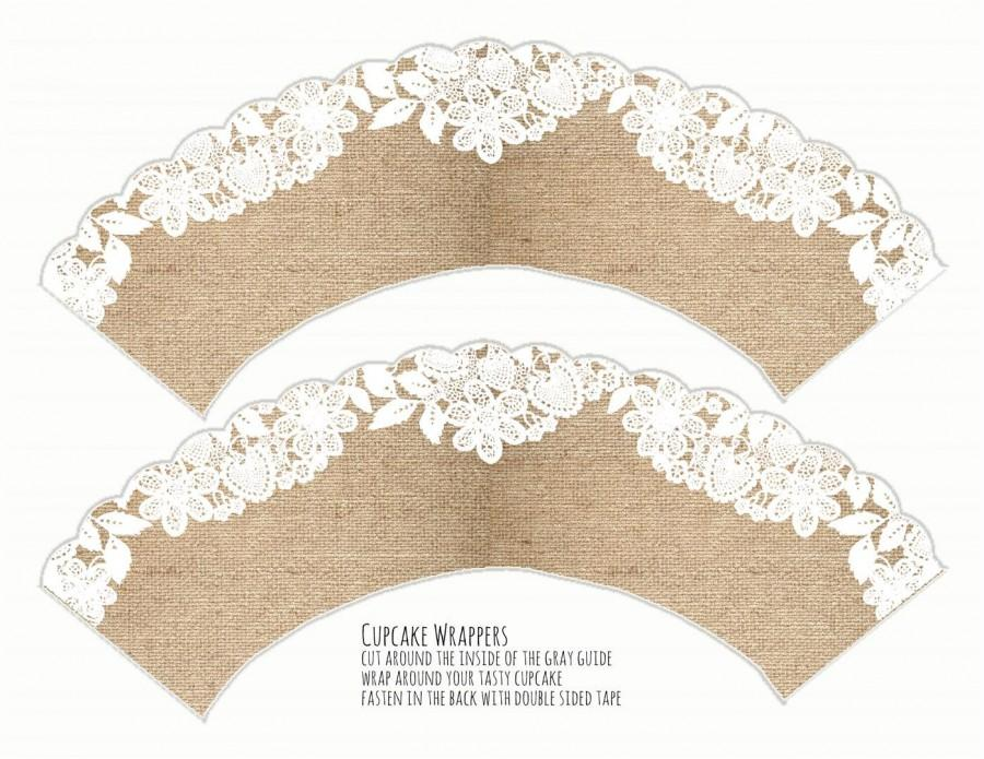 photo regarding Printable Cupcake Wrappers titled Printable Cupcake Wrapper - Burlap And Lace Cupcake Wrapper