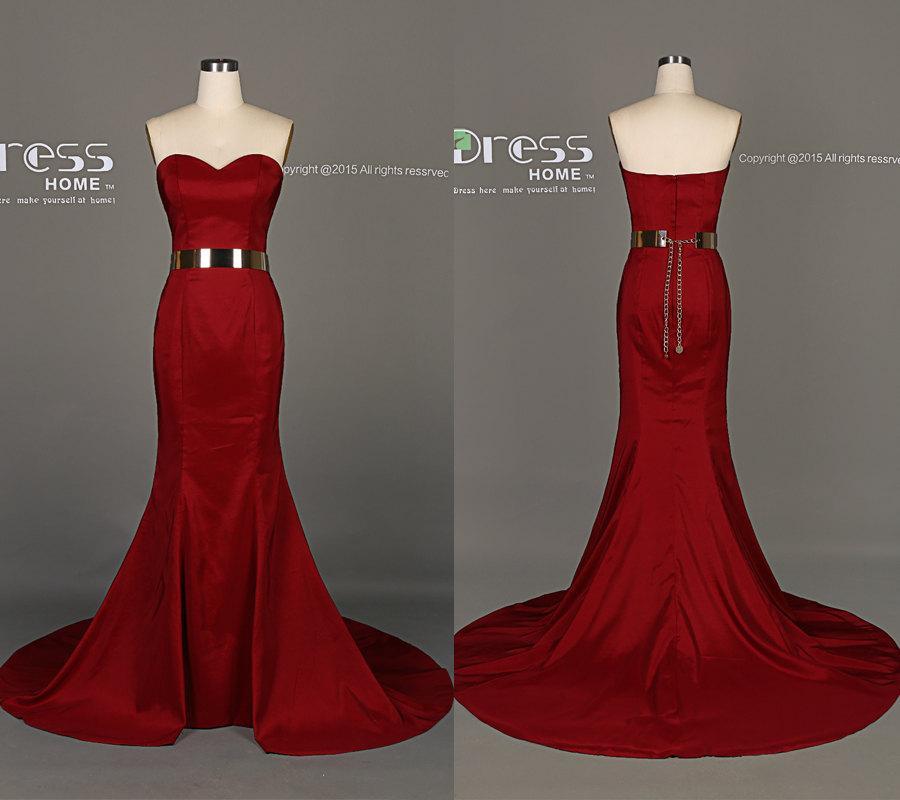 Hochzeit - 2015 Burgundy Sweetheart Mermaid Long Prom Dress/Wine Red Party Dresses/Simple Evening Dress/Mermaid Reception Dress DH345