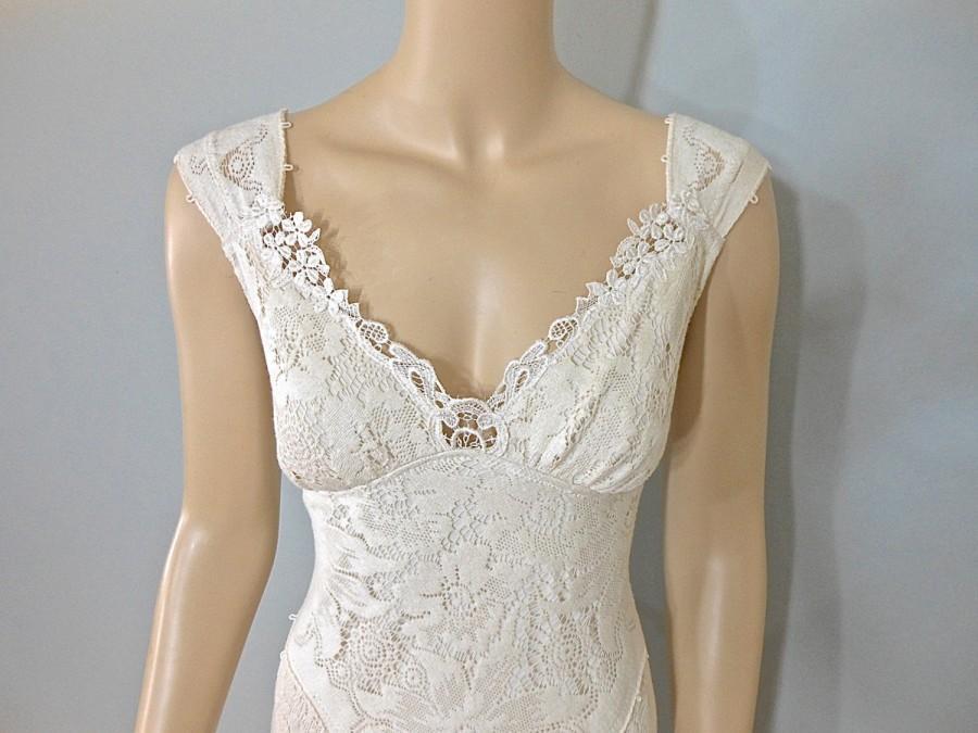 a1d65e85dc154 Vintage Inspired Wedding dress Mermaid Wedding Dresses BOHO Lace Wedding  Dress UNIQUE wedding Dress Cap Sleeve Wedding Dresses Sz Large