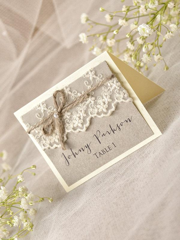 Rustic Place Cards (20) Lace Place cards Grey Wedding stationery Tented Place Cards Lace Escort Card Name Card & Rustic Place Cards (20) Lace Place Cards Grey Wedding Stationery ...