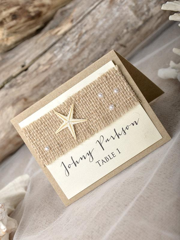 Rustic Beach Wedding Place Cads(20), Beach Place Cards, Seashell ...