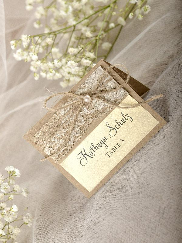 زفاف - Rustic Place Cards (20), Lace Place cards, Wedding stationery, Lace Escort Card, Name Card, Burlap Place Cards,