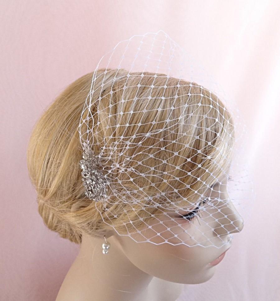 Mariage - bridal birdcage veil, bandeau birdcage, wedding bird cage veil, Russian veiling, white, ivory, beige, pink Style 631