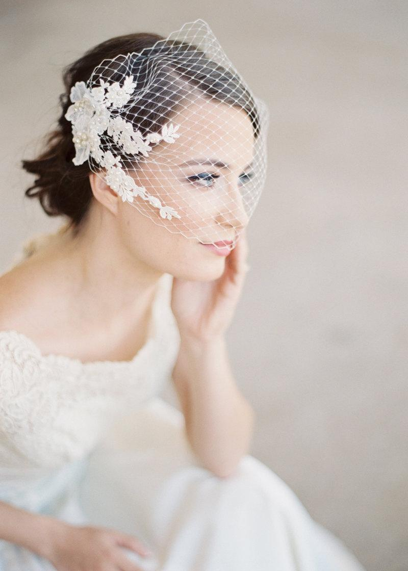 Свадьба - Bridal birdcage bandeau veil, ivory lace with pearls and crystals, wedding bandeau veil in ivory or pink Style 628