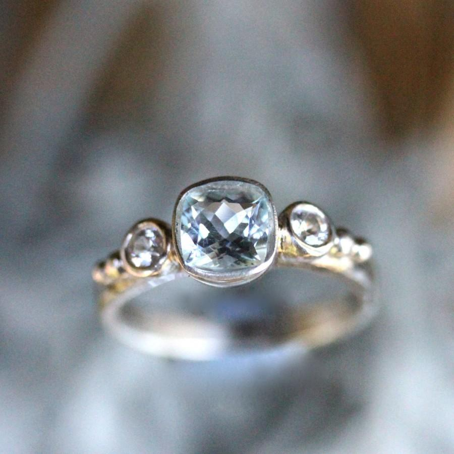 Aquamarine And White Sapphire Sterling Silver Ring Gemstone Ring Three Stones Ring Engagement