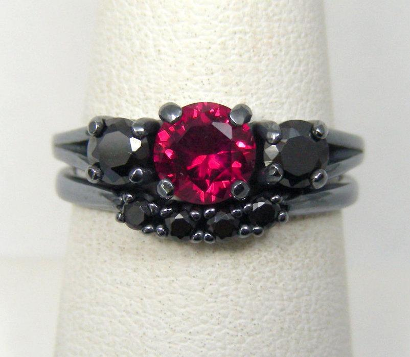 3 DAY SALE Red And Black Engagement Ring 2400110 Weddbook
