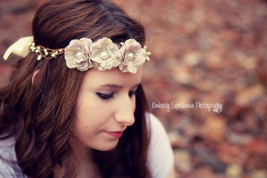 Mariage - Rustic Floral Crown, Boho Vine Headpiece, Wedding Crown, Wedding Hair Accessory, Cream Floral Crown, Lavender Floral Crown