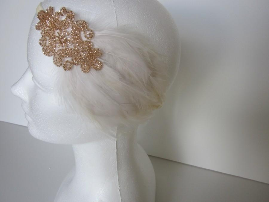 زفاف - Flapper Dress fascinator Headpiece Great Gatsby Dress Headband 1920 Headband Cream Ivory Fascinator