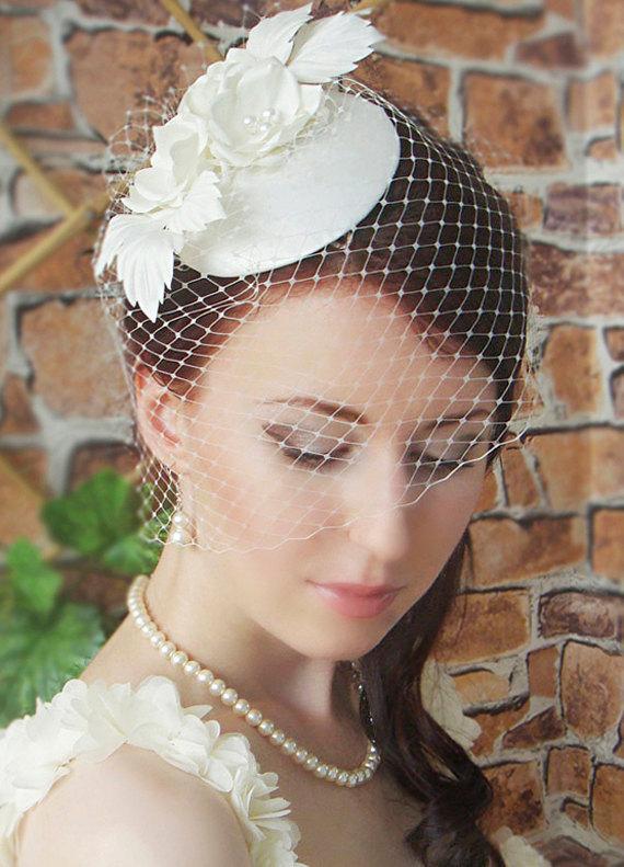Fascinator Bridal Wedding Hat Birdcage Veil Vintage Ivor