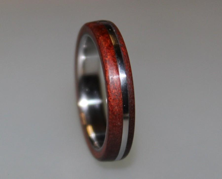 Wedding - Titanium Ring, Womens Titanium Wedding Band, Wedding Ring, Wooden, Wood Ring
