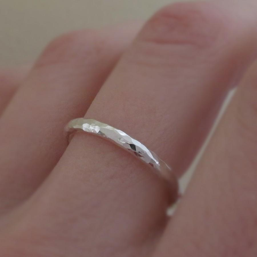 Mariage - Hand Hammered Ring - Recycled Sterling Silver - 2 mm