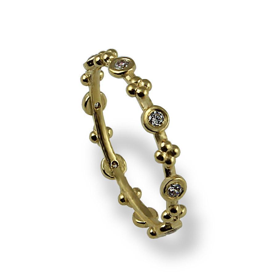 Dainty Diamond Wedding Band Yellow Gold Ring Unique Thin Stacking Alternative