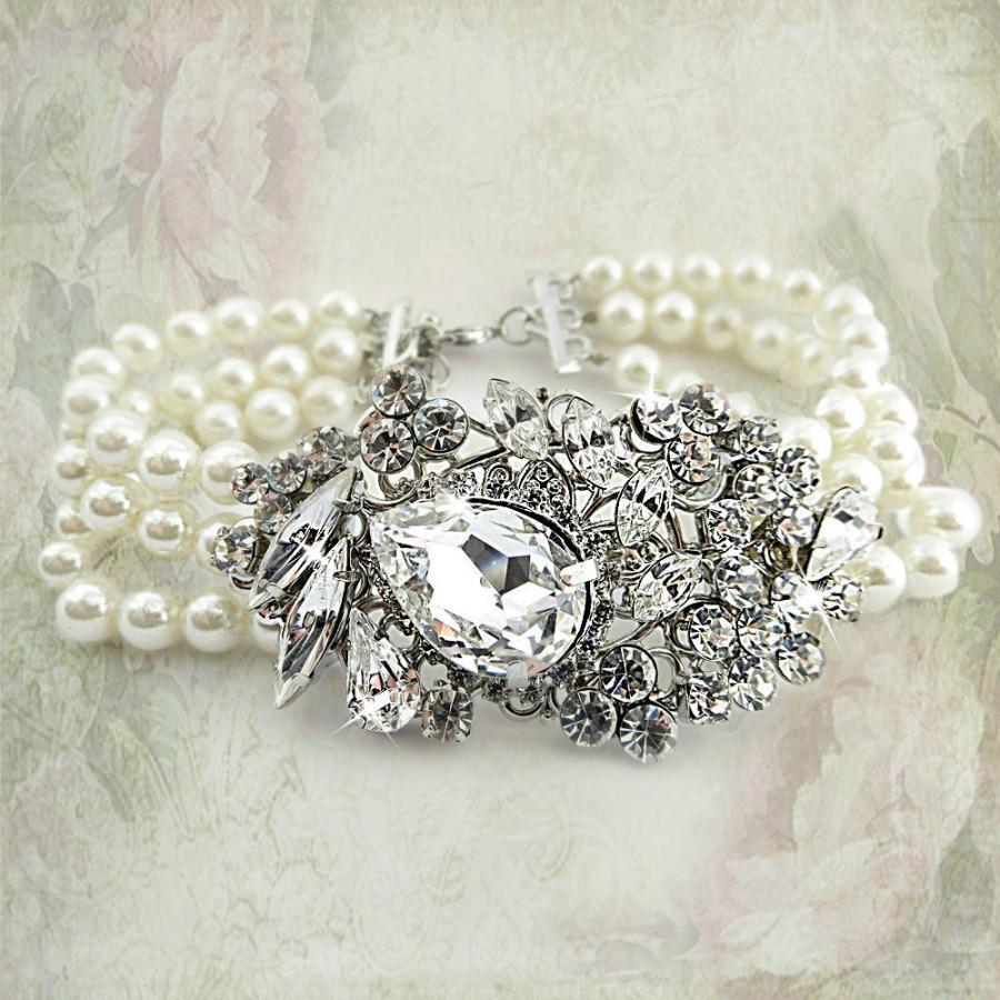 Wedding - Bridal Bracelet Rhinestone Pearl Bridal Bracelet wedding bracelet