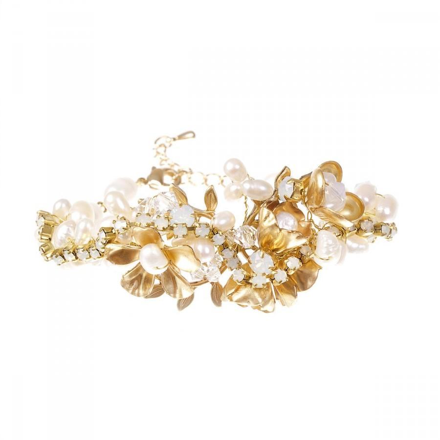 Wedding - Gold  Bracelet ,Swarovski Opal Crystals  Freshwater Pearl Bracelet ,  Wedding Natural Brass Floral Cuff Bracelet , Bridal Bohemian Jewelry