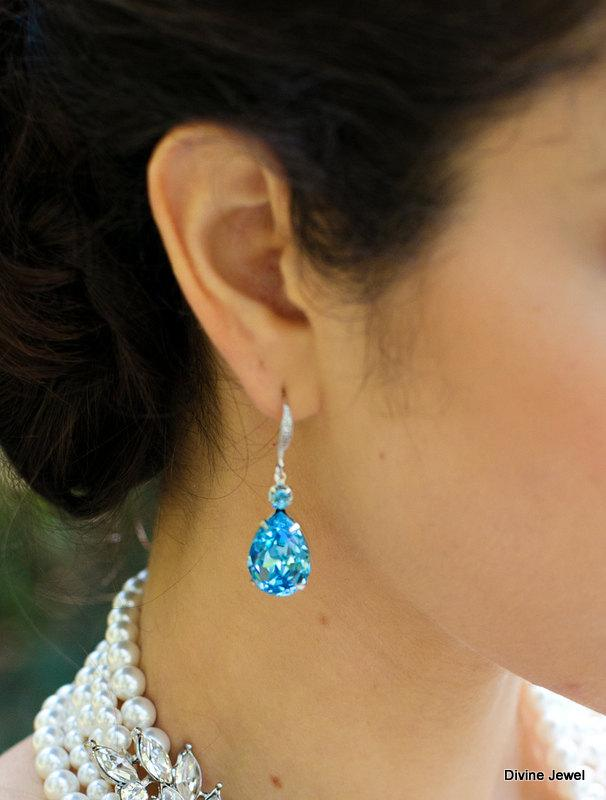 Something Blue Earrings Rhinestone Bridal Wedding Crystal Jewelry Drop Vintage Bride Aria