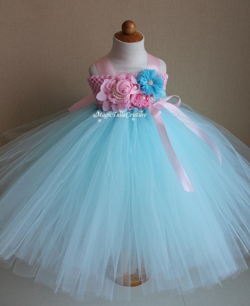 Mint Blue And Lt Pink Flower Girl Tutu Dress Wedding Dress Birthday