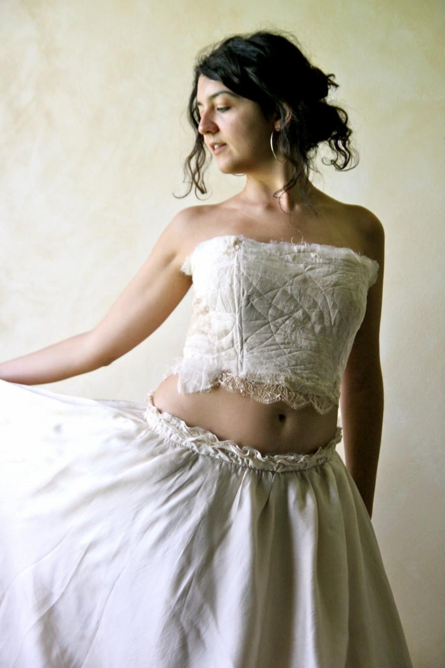 Wedding top beach wedding fairy top silk top strapless for Strapless corset bra for wedding dress