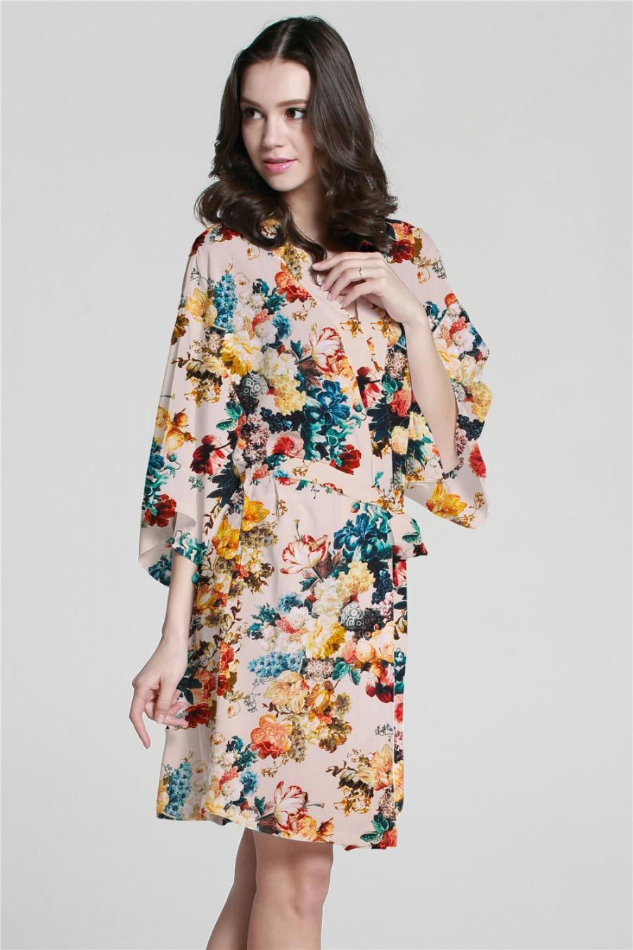 XF0001 Custom White Floral Kimono Robes For Wedding Party Gifts ...