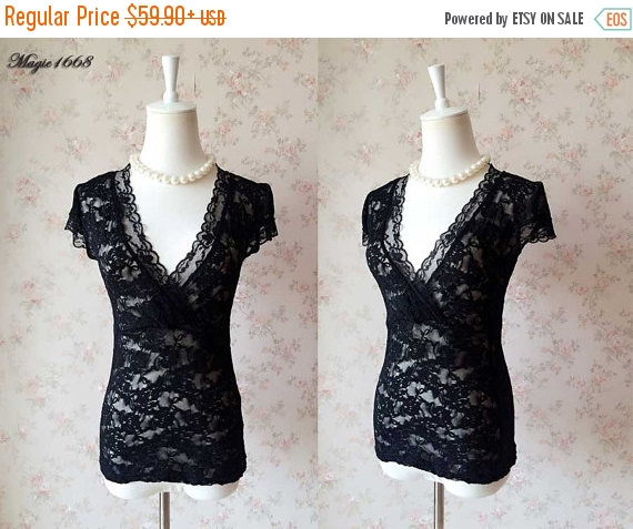 5ac7080e Black lace top, Sexy V neck Women tops, Cap Sleeved Lace Top Lace Shirts,  newretro Wedding top, Feminine Party tops - Plus size tops