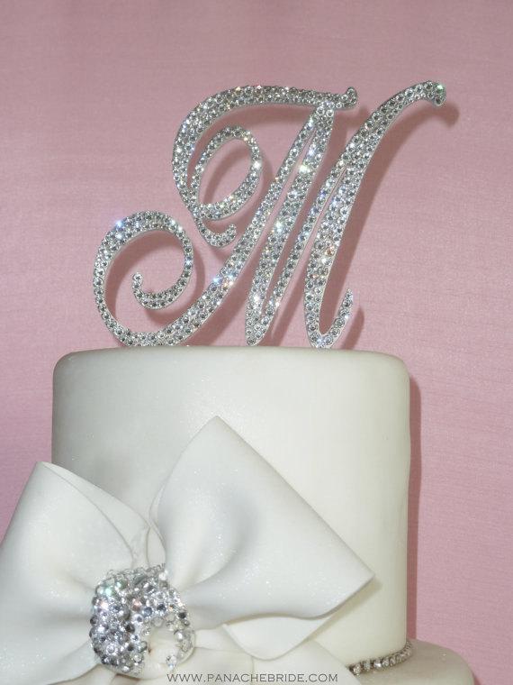 زفاف - As Seen on TLC's Four Weddings - Monogram cake topper - Swarovski Crystal cake topper
