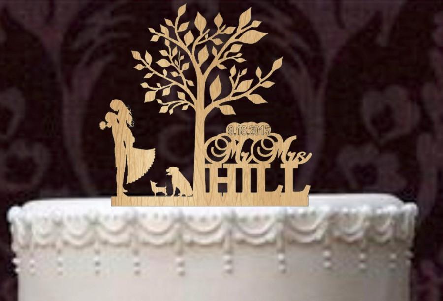 Wedding - custom cake topper and labrador retriever and chihuahua, Rustic Wedding Cake Topper, Personalized  silhouette wedding cake topper mr and mrs