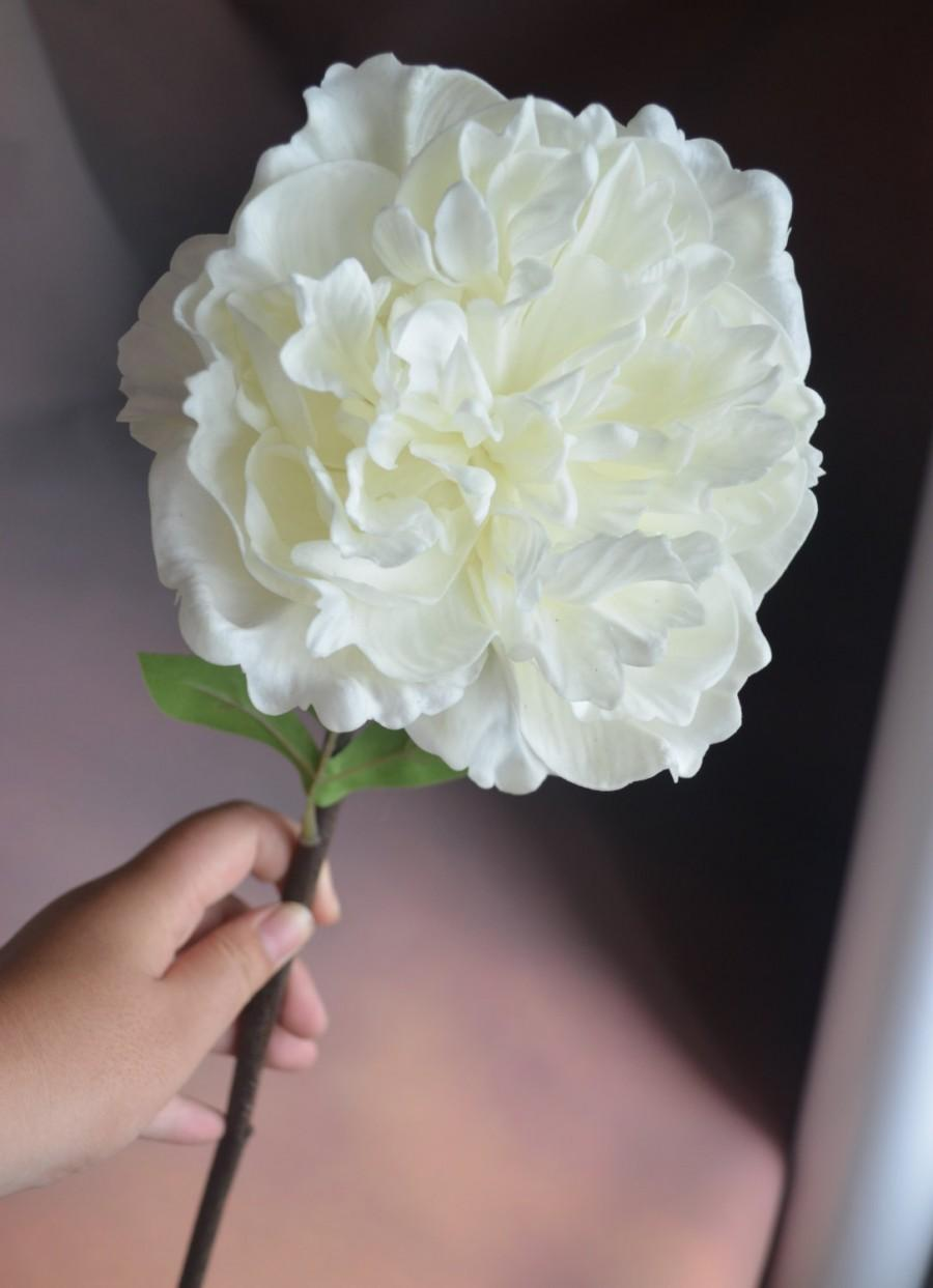 Real touch white peony flowers single stem artificial open peony real touch white peony flowers single stem artificial open peony flowers for bridal bouquet home decor mightylinksfo