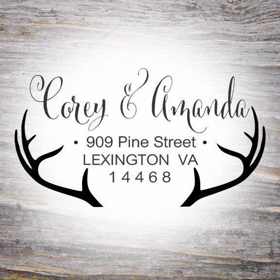 Hochzeit - Antler Return Address Rubber Stamp, Address Stamp Wedding, Calligraphy Stamp, Self Inking Rubber Stamp, Antler Address Stamp,