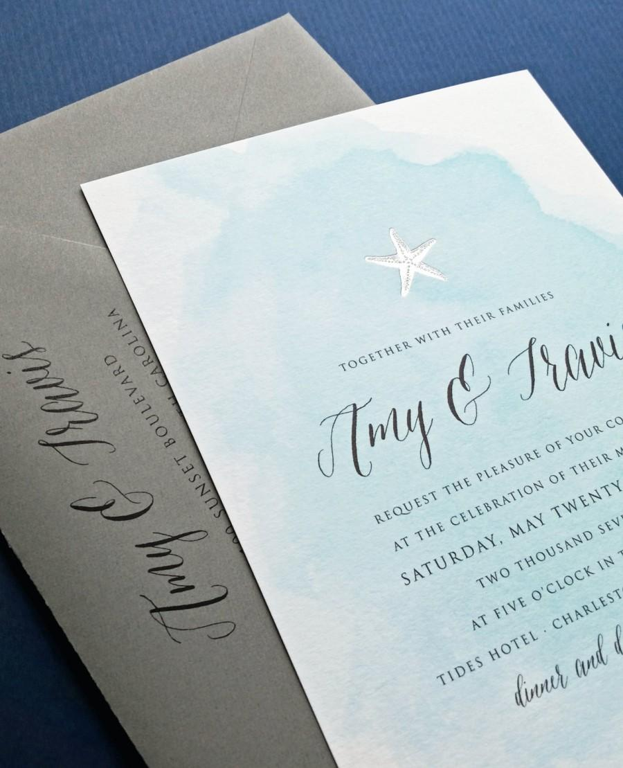 Mariage - NEW Amy Blue Watercolor Beach Wedding Invitation Sample with Gold or Silver Foil Stamped Starfish, Shell, Anchor or Palm Tree
