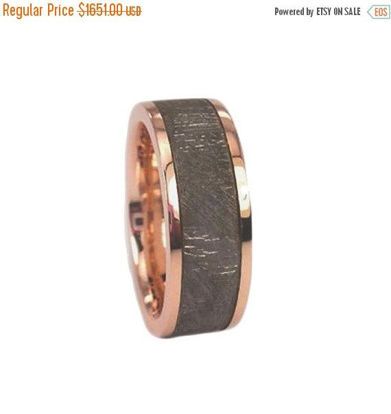 Holiday Sale 10 Off Rose Gold Meteorite Ring Wedding Band Set