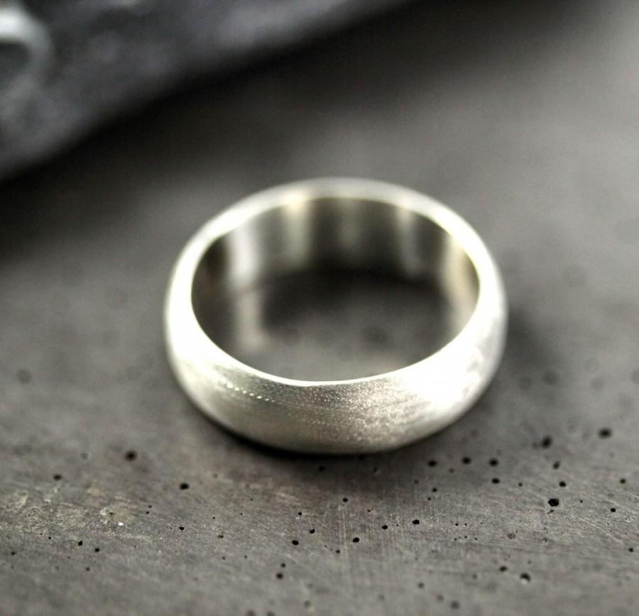 زفاف - Men's Wedding Band, Matte 6mm Wide Half Round Brushed Unisex Recycled Metal Argentium Sterling Silver Ring Men's Ring - Made in Your Size