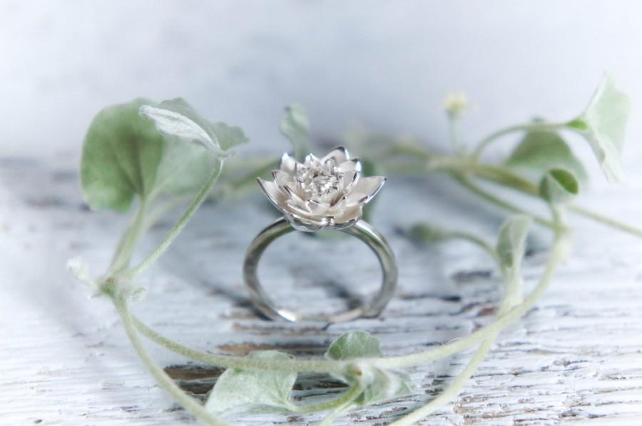 Lotus Flower Engagement Ring Proposal Ring Sterling Silver Ring
