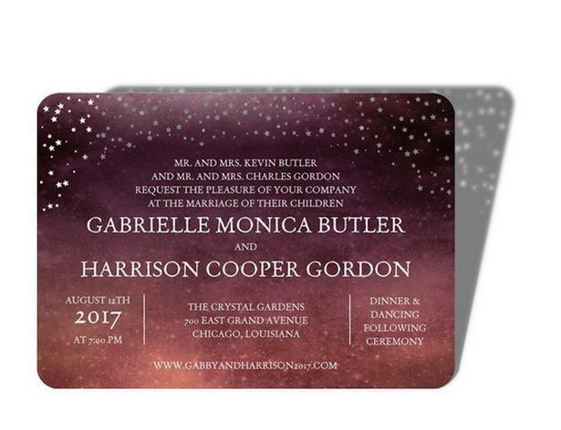 Hochzeit - Filled With Stars - Signature Laser Cut Wedding Invitations In Wave Or Chambord