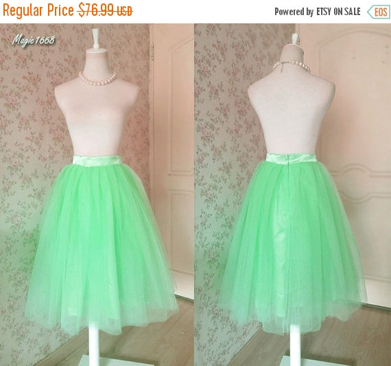 Mariage - New Green Tutu Skirt. Pleated Tutu Skirt. Ladies Tulle skirt. Midi Skirt. Pleated Skirt. Party Skirt. Bridesmaid Skirt. Plus Size Tutus.