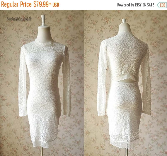 Chic Ivory White Bridesmaid Dress Lace Long Sleeve Short Women Reception Rustic Wedding Custom