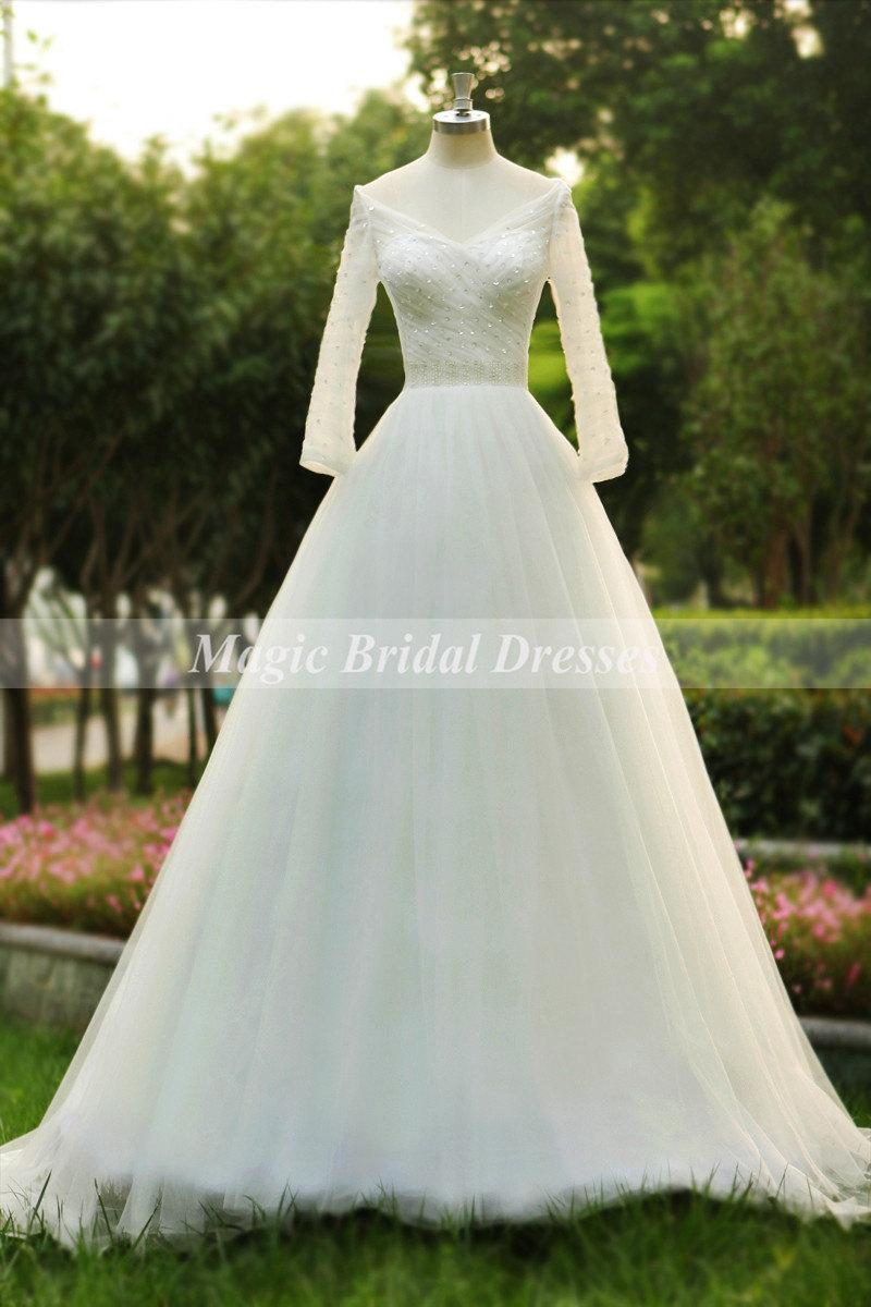 82535fcdbc Summer 2015 New Design Wedding Dress with Long Sleeves Charming V-neck  Design Beading Sequins Bridal Wedding Gown Fine Tulle A-line Gowns