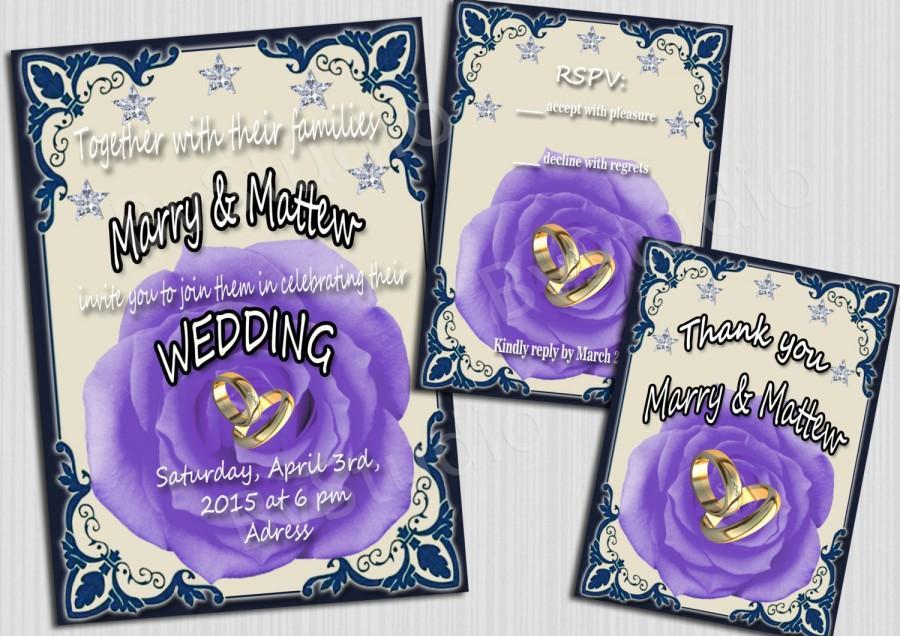 Hochzeit - Wedding invitation - Blue Roses wedding invitation -  Bridal Shower - Printable Instant Download