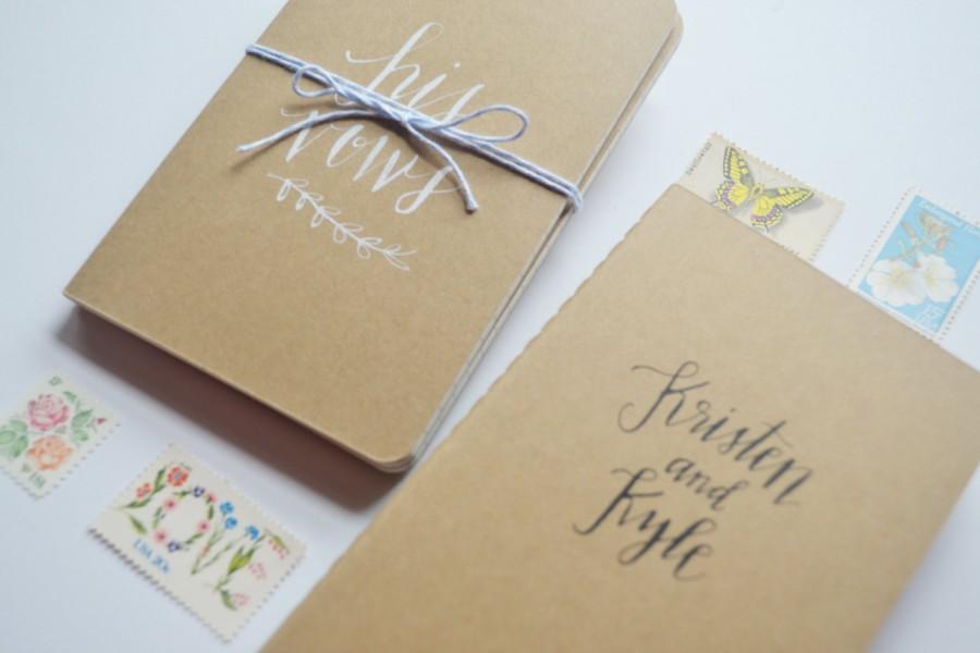 Hochzeit - Hand-Lettered Custom Vow Book or Mini Journal