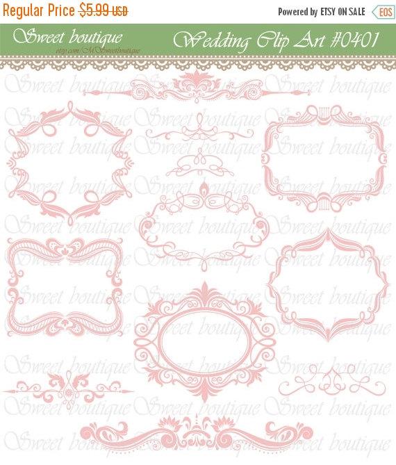 Wedding - 30%OFF SALE Pink Digital Frames Scrapbook Border Clipart Ornate Flourish Vintage Classic Wedding Invitation embellishment Square Rectangle 0