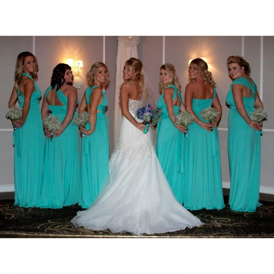 0510c5b61eb0 Bridesmaid Dress Infinity Dress Turquoise Floor Length Maxi Wrap  Convertible Dress Wedding Dress