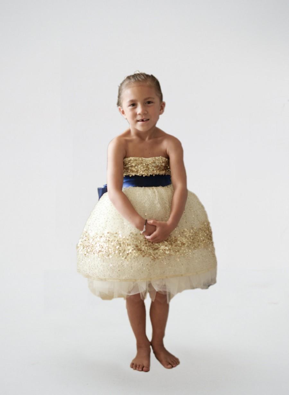 Hochzeit - SALE- Gold Constellation Flower Girl Dress